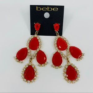 bebe Large Red Gold Earrings with Crystal Accents